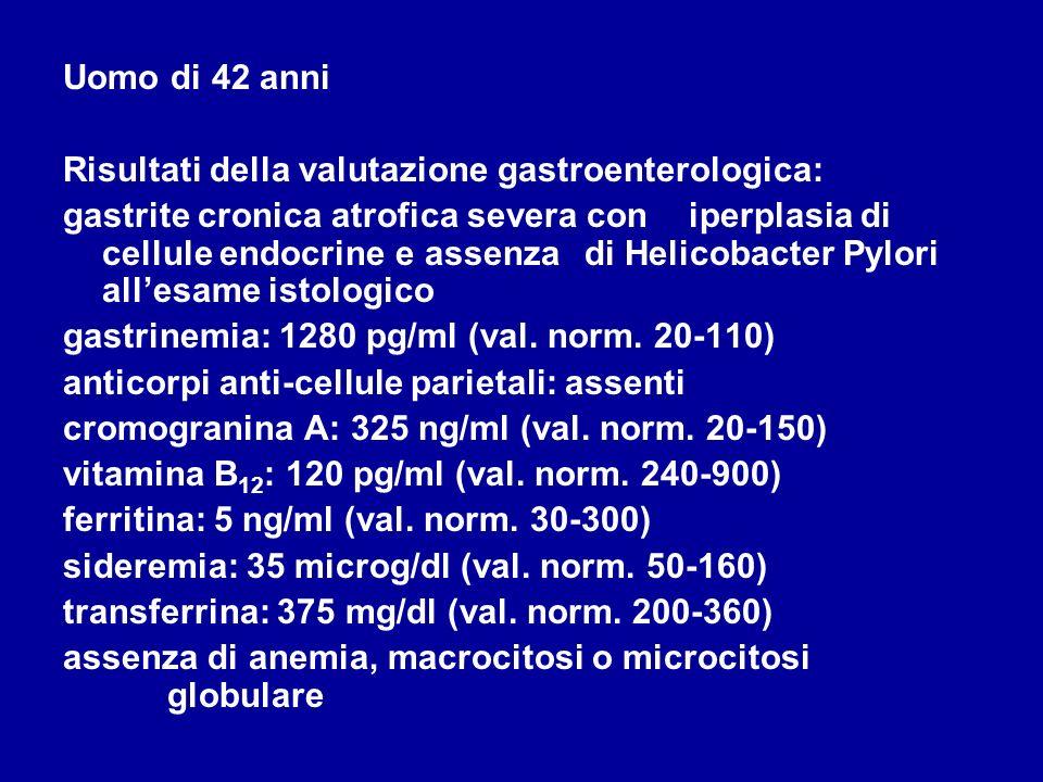 Uomo di 42 anni Risultati della valutazione gastroenterologica: gastrite cronica atrofica severa con iperplasia di cellule endocrine e assenza di Heli