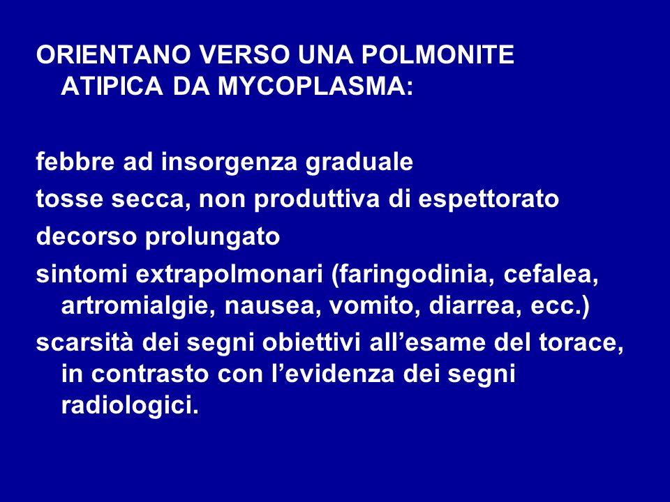 ORIENTANO VERSO UNA POLMONITE ATIPICA DA MYCOPLASMA: febbre ad insorgenza graduale tosse secca, non produttiva di espettorato decorso prolungato sinto