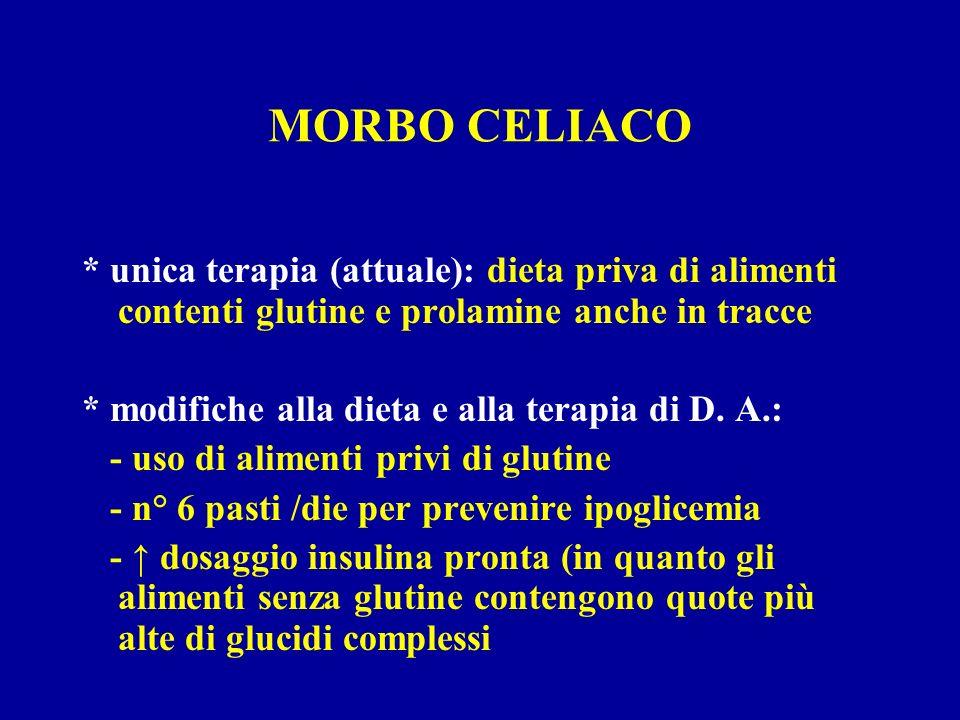 MORBO CELIACO * unica terapia (attuale): dieta priva di alimenti contenti glutine e prolamine anche in tracce * modifiche alla dieta e alla terapia di
