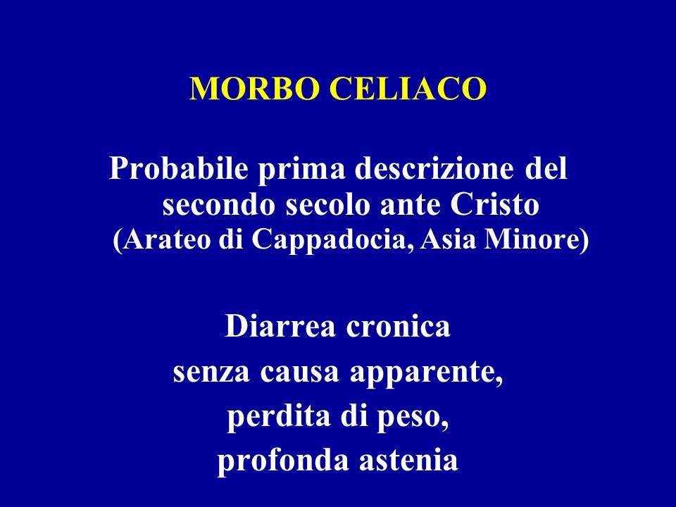 MORBO CELIACO Probabile prima descrizione del secondo secolo ante Cristo (Arateo di Cappadocia, Asia Minore) Diarrea cronica senza causa apparente, pe
