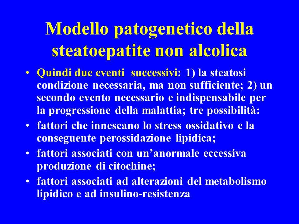 Modello patogenetico della steatoepatite non alcolica Quindi due eventi successivi: 1) la steatosi condizione necessaria, ma non sufficiente; 2) un se