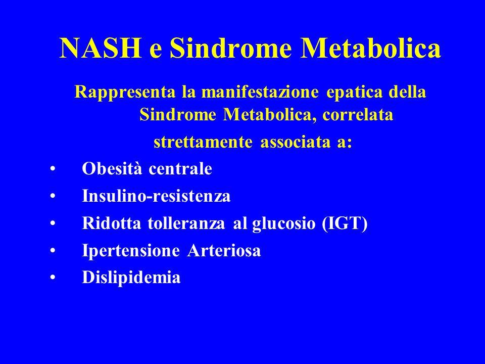 NASH e Sindrome Metabolica Rappresenta la manifestazione epatica della Sindrome Metabolica, correlata strettamente associata a: Obesità centrale Insul