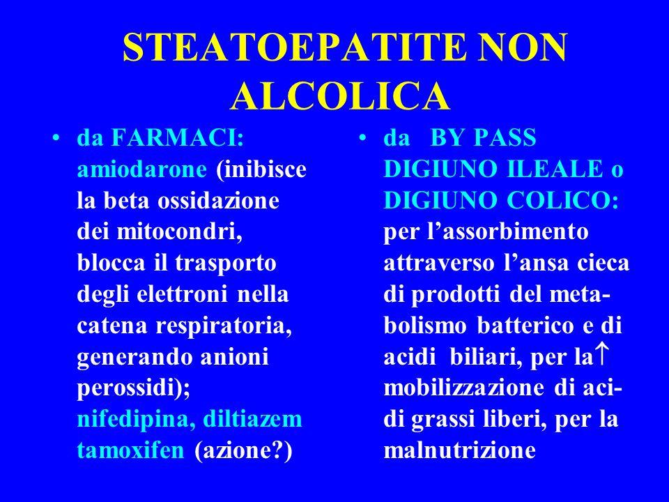 STEATOEPATITE NON ALCOLICA da FARMACI: amiodarone (inibisce la beta ossidazione dei mitocondri, blocca il trasporto degli elettroni nella catena respi