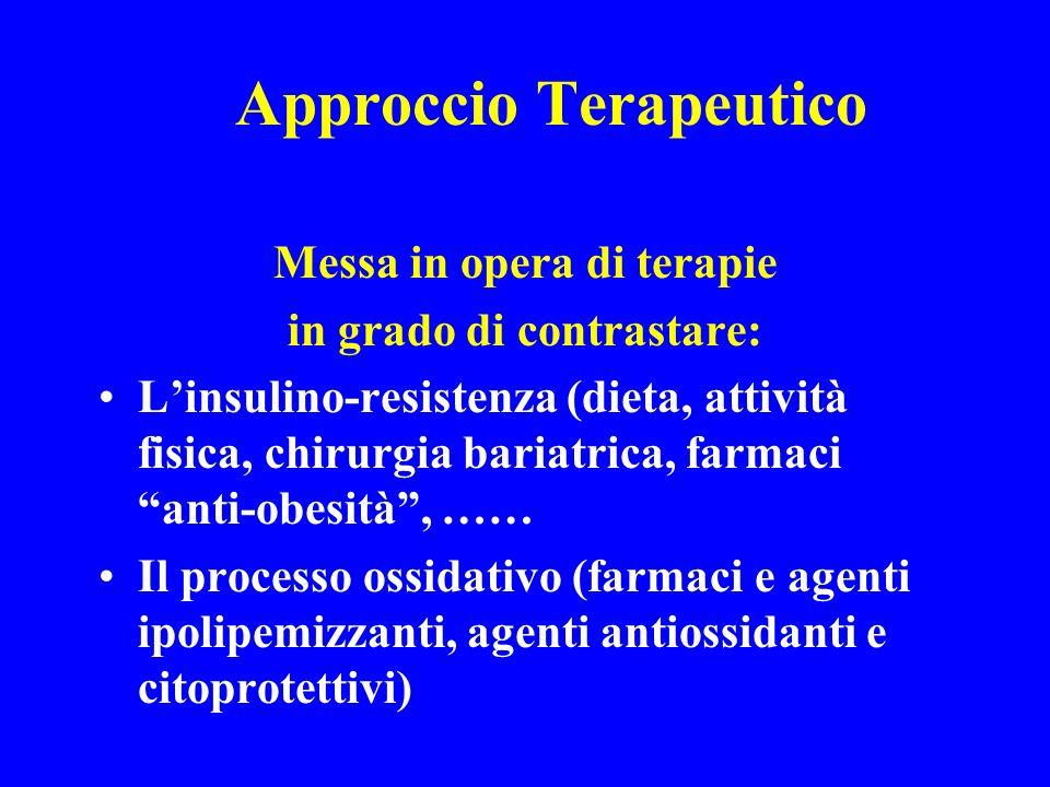 Approccio Terapeutico Messa in opera di terapie in grado di contrastare: Linsulino-resistenza (dieta, attività fisica, chirurgia bariatrica, farmaci a