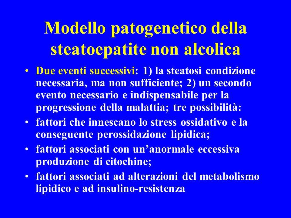 Modello patogenetico della steatoepatite non alcolica Due eventi successivi: 1) la steatosi condizione necessaria, ma non sufficiente; 2) un secondo e