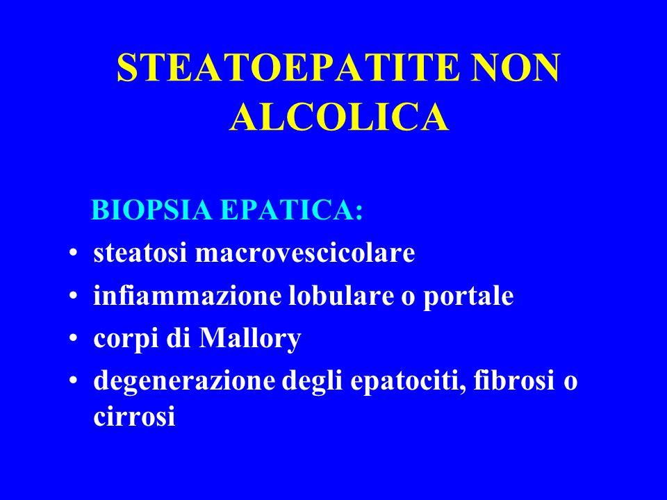 STEATOEPATITE NON ALCOLICA BIOPSIA EPATICA: steatosi macrovescicolare infiammazione lobulare o portale corpi di Mallory degenerazione degli epatociti,