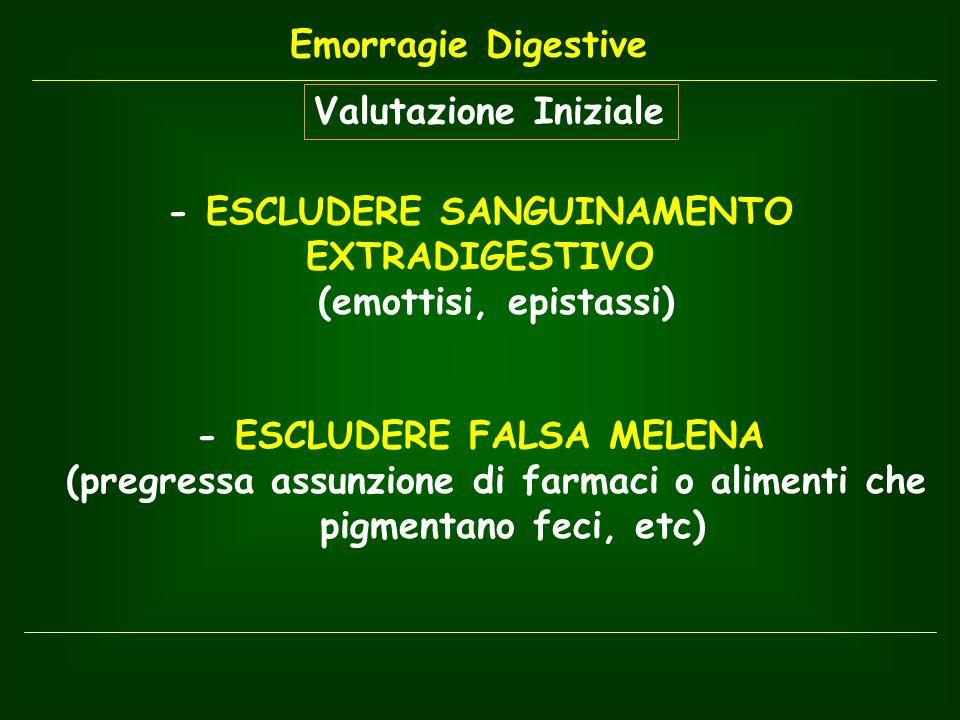 Valutazione Iniziale - ESCLUDERE SANGUINAMENTO EXTRADIGESTIVO (emottisi, epistassi) - ESCLUDERE FALSA MELENA (pregressa assunzione di farmaci o alimen