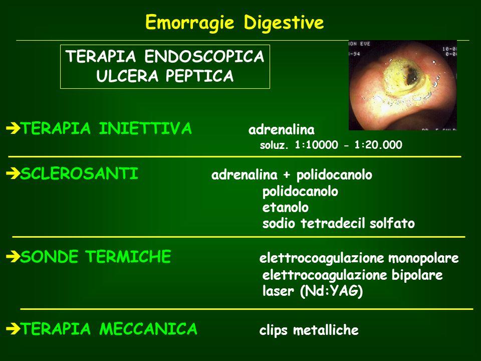 TERAPIA ENDOSCOPICA ULCERA PEPTICA TERAPIA INIETTIVA adrenalina soluz. 1:10000 - 1:20.000 SCLEROSANTI adrenalina + polidocanolo polidocanolo etanolo s