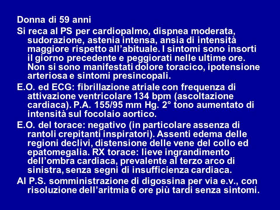 Donna di 59 anni Affetta da ipertensione arteriosa lieve- moderata da circa 10 anni, dopo la menopausa, attualmente trattata con enalapril 20 mg/die e aspirina 100 mg/die, non ben controllata dal farmaco.