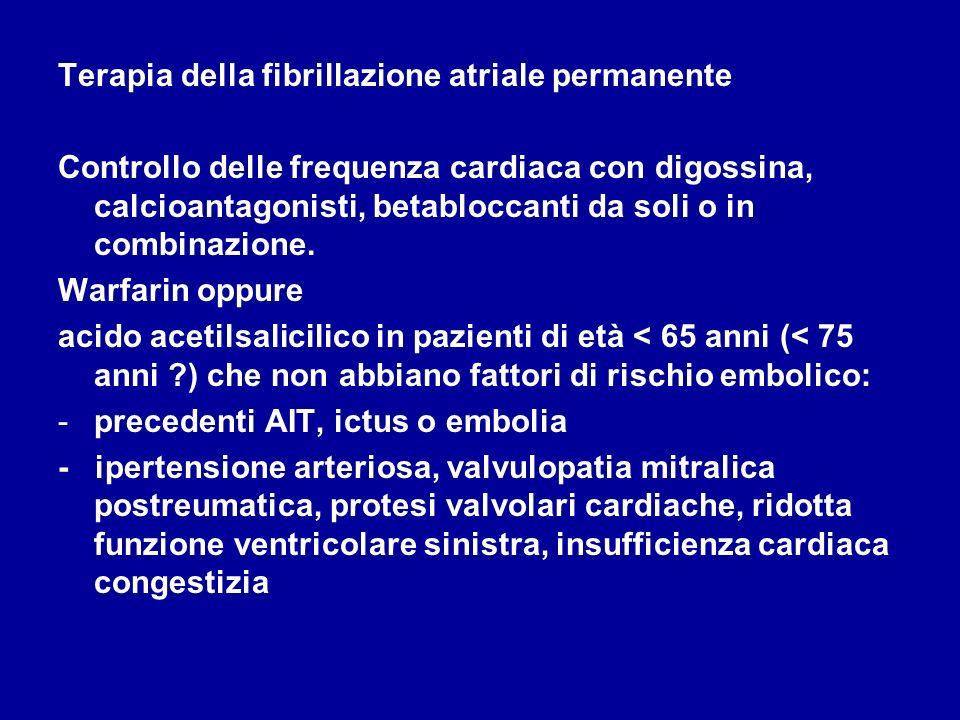 Terapia della fibrillazione atriale permanente Controllo delle frequenza cardiaca con digossina, calcioantagonisti, betabloccanti da soli o in combina