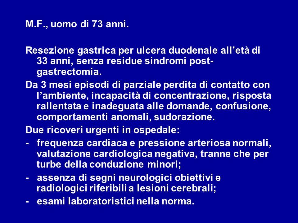 M.F., uomo di 73 anni. Resezione gastrica per ulcera duodenale alletà di 33 anni, senza residue sindromi post- gastrectomia. Da 3 mesi episodi di parz