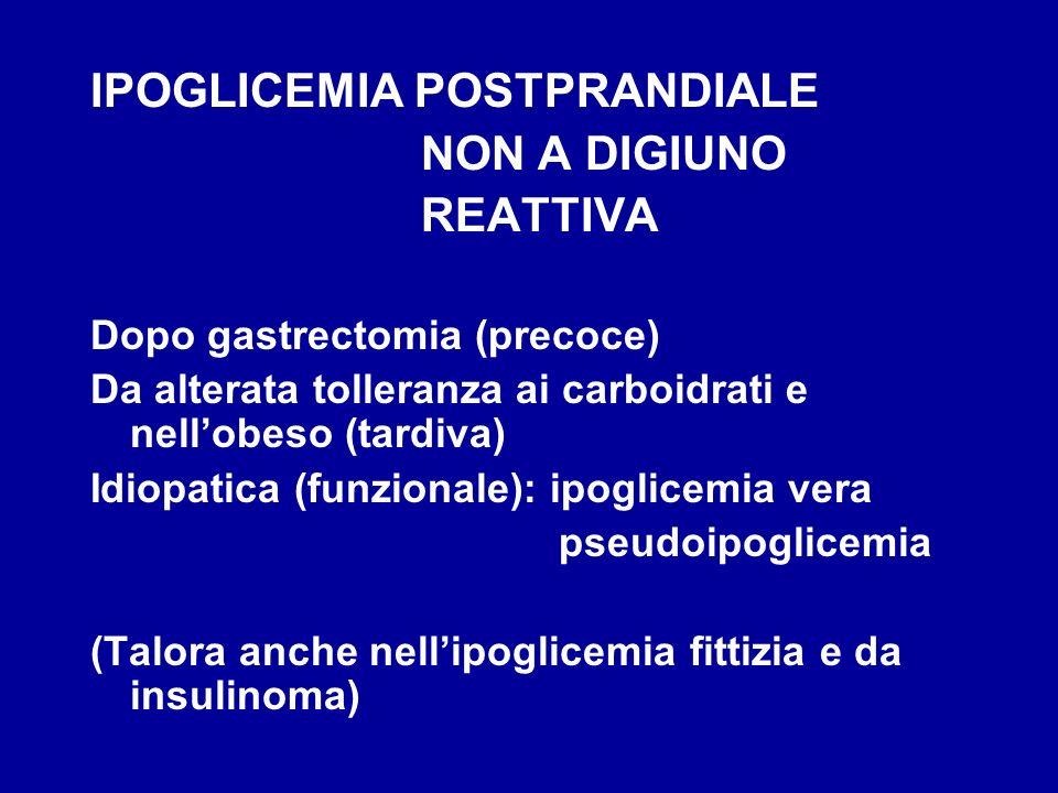 IPOGLICEMIA POSTPRANDIALE NON A DIGIUNO REATTIVA Dopo gastrectomia (precoce) Da alterata tolleranza ai carboidrati e nellobeso (tardiva) Idiopatica (f