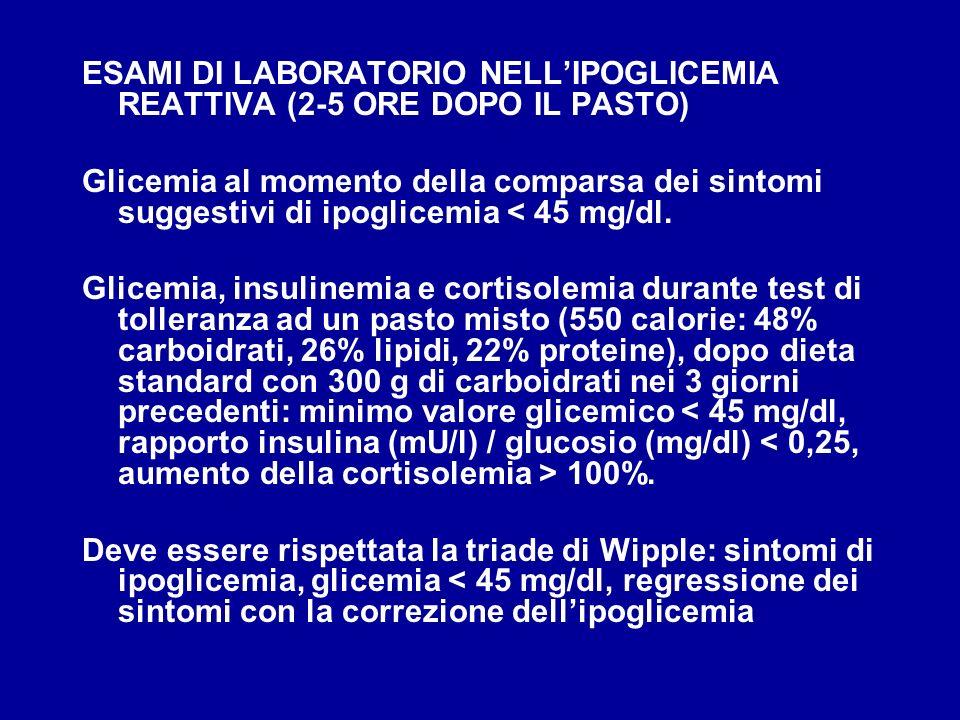 ESAMI DI LABORATORIO NELLIPOGLICEMIA REATTIVA (2-5 ORE DOPO IL PASTO) Glicemia al momento della comparsa dei sintomi suggestivi di ipoglicemia < 45 mg
