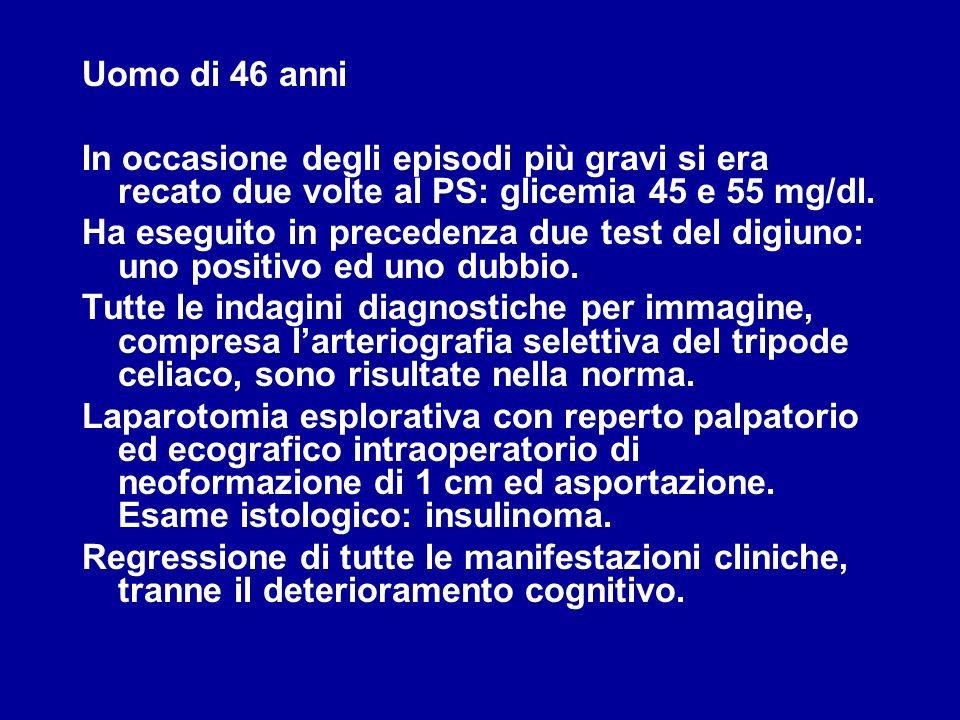 Uomo di 46 anni In occasione degli episodi più gravi si era recato due volte al PS: glicemia 45 e 55 mg/dl. Ha eseguito in precedenza due test del dig