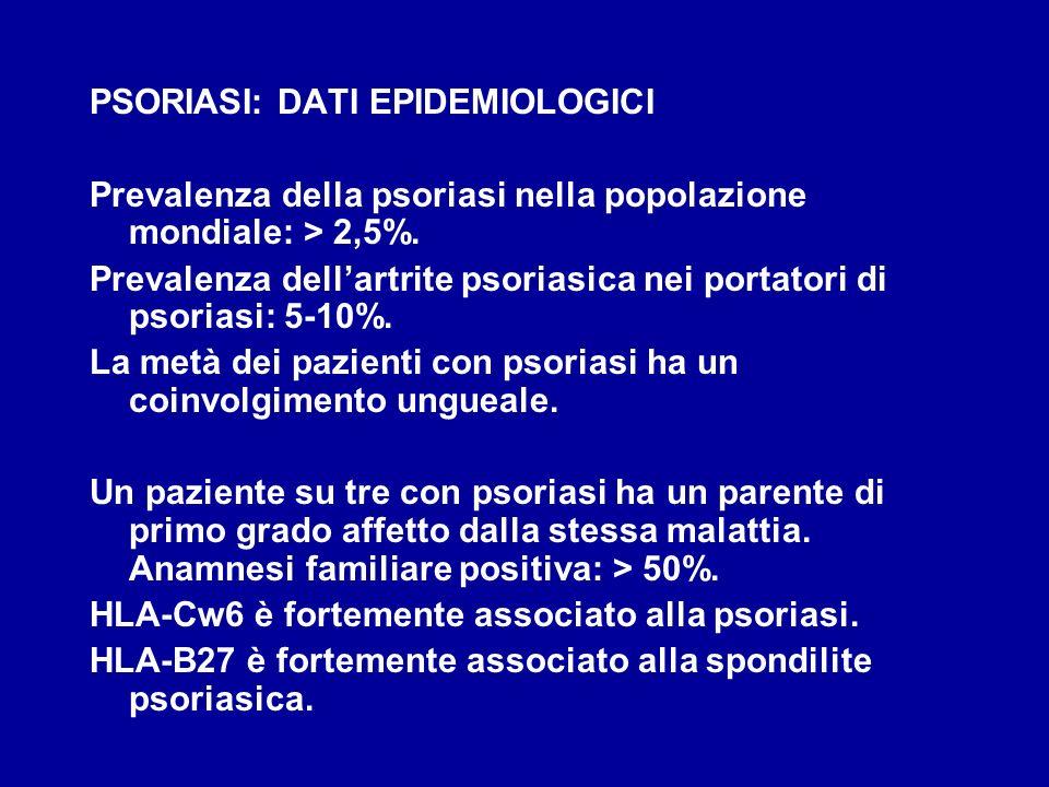 PSORIASI: DATI EPIDEMIOLOGICI Prevalenza della psoriasi nella popolazione mondiale: > 2,5%. Prevalenza dellartrite psoriasica nei portatori di psorias