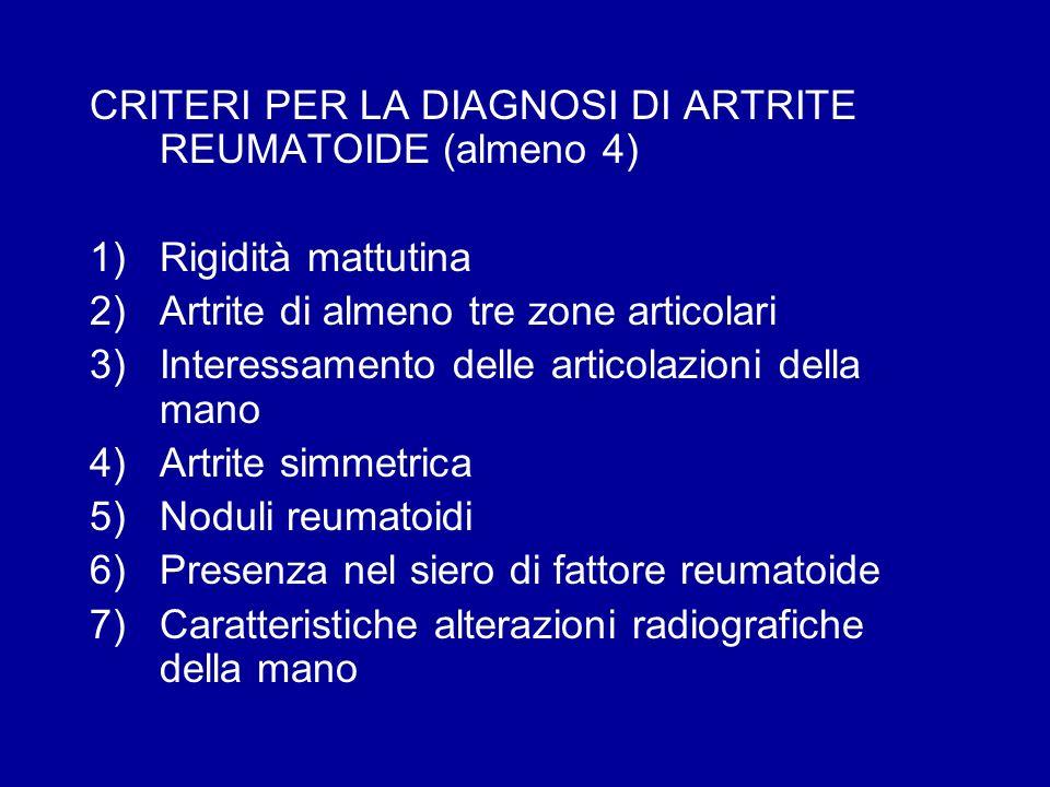 CRITERI PER LA DIAGNOSI DI ARTRITE REUMATOIDE (almeno 4) 1)Rigidità mattutina 2)Artrite di almeno tre zone articolari 3)Interessamento delle articolaz