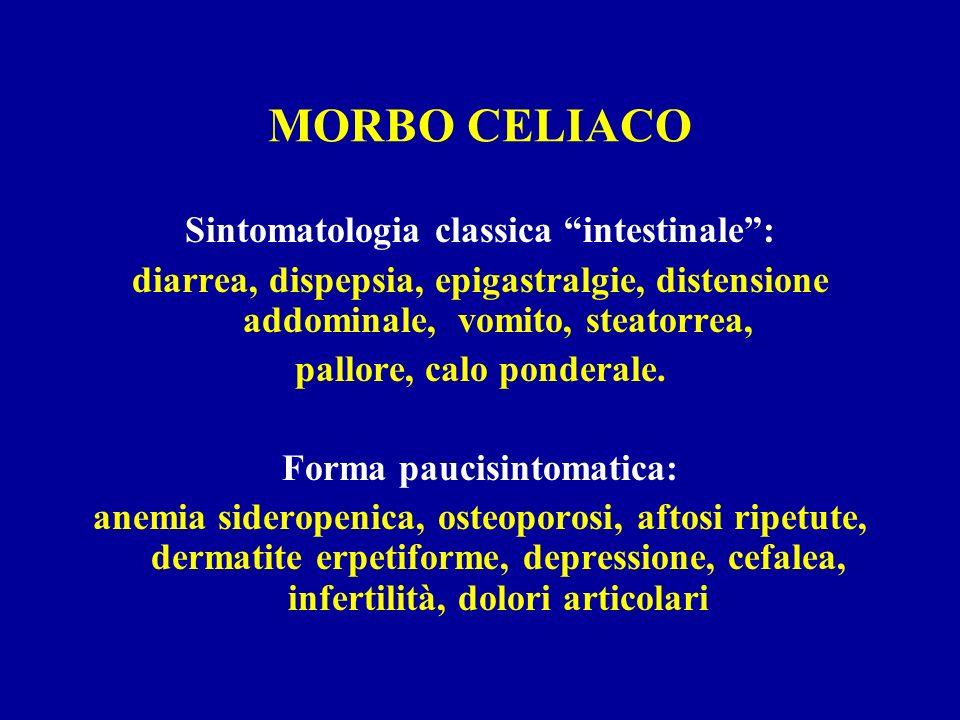 MORBO CELIACO Sintomatologia classica intestinale: diarrea, dispepsia, epigastralgie, distensione addominale, vomito, steatorrea, pallore, calo ponder