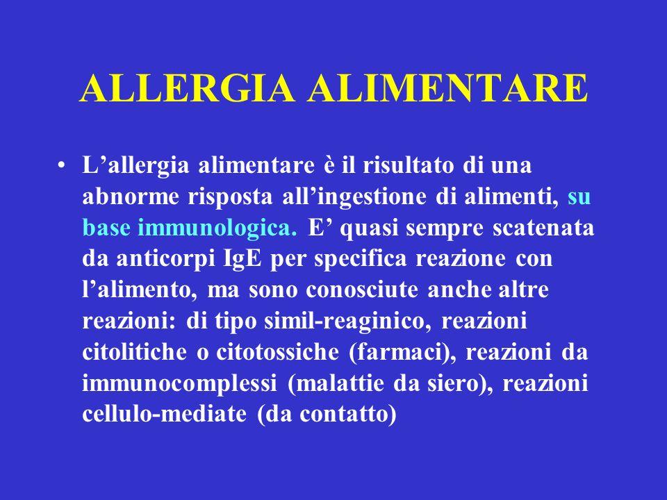 ALLERGIA ALIMENTARE Lallergia alimentare è il risultato di una abnorme risposta allingestione di alimenti, su base immunologica. E quasi sempre scaten