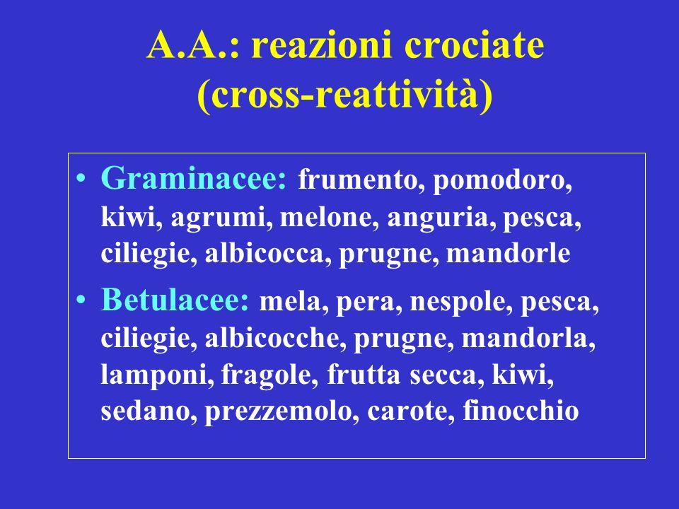 A.A.: reazioni crociate (cross-reattività) Graminacee: frumento, pomodoro, kiwi, agrumi, melone, anguria, pesca, ciliegie, albicocca, prugne, mandorle Betulacee: mela, pera, nespole, pesca, ciliegie, albicocche, prugne, mandorla, lamponi, fragole, frutta secca, kiwi, sedano, prezzemolo, carote, finocchio