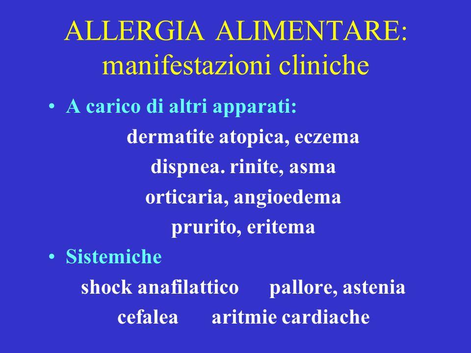 ALLERGIA ALIMENTARE: manifestazioni cliniche A carico di altri apparati: dermatite atopica, eczema dispnea. rinite, asma orticaria, angioedema prurito