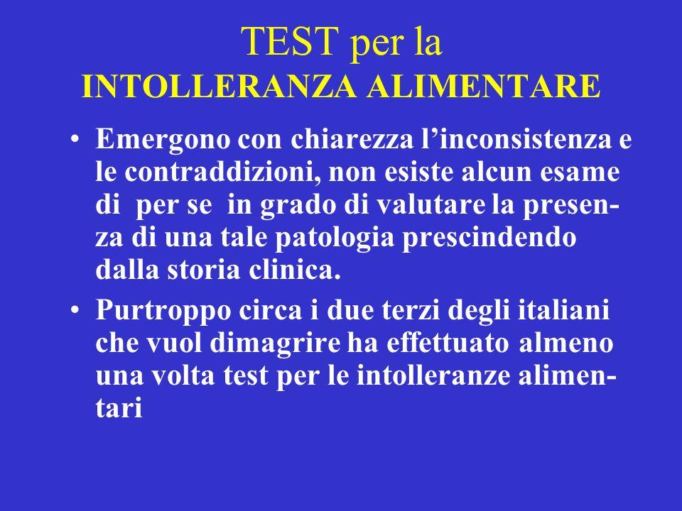 TEST per la INTOLLERANZA ALIMENTARE Emergono con chiarezza linconsistenza e le contraddizioni, non esiste alcun esame di per se in grado di valutare l