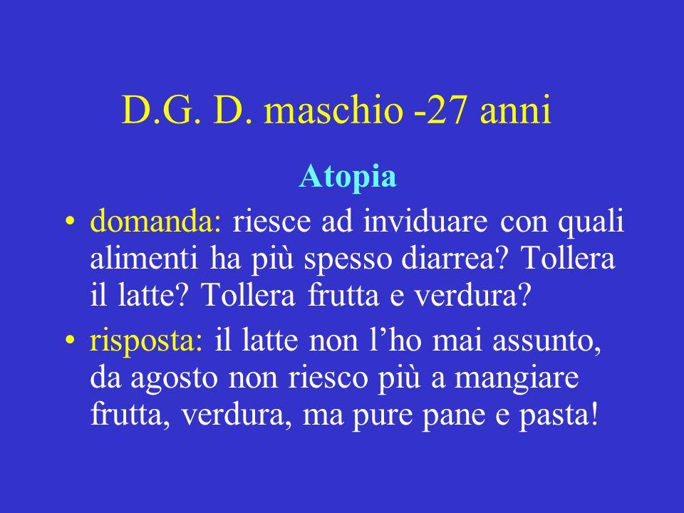 D.G. D. maschio -27 anni Atopia domanda: riesce ad inviduare con quali alimenti ha più spesso diarrea? Tollera il latte? Tollera frutta e verdura? ris