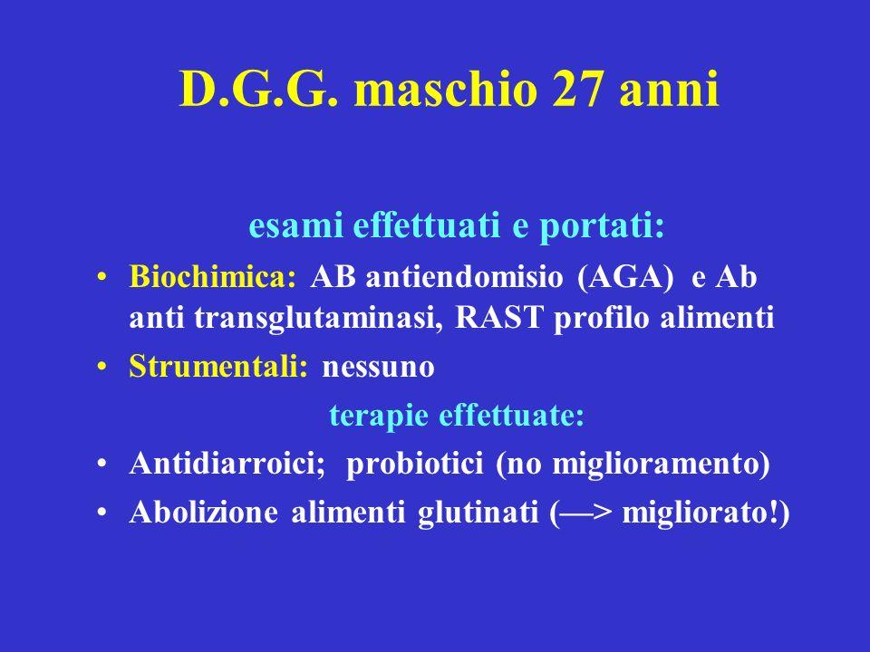 D.G.G. maschio 27 anni esami effettuati e portati: Biochimica: AB antiendomisio (AGA) e Ab anti transglutaminasi, RAST profilo alimenti Strumentali: n