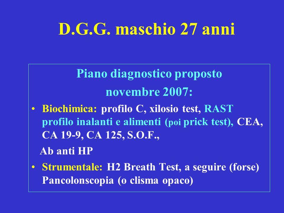 D.G.G. maschio 27 anni Piano diagnostico proposto novembre 2007: Biochimica: profilo C, xilosio test, RAST profilo inalanti e alimenti ( poi prick tes