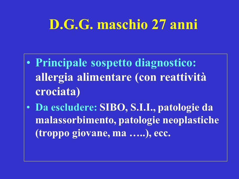 D.G.G. maschio 27 anni Principale sospetto diagnostico: allergia alimentare (con reattività crociata) Da escludere: SIBO, S.I.I., patologie da malasso