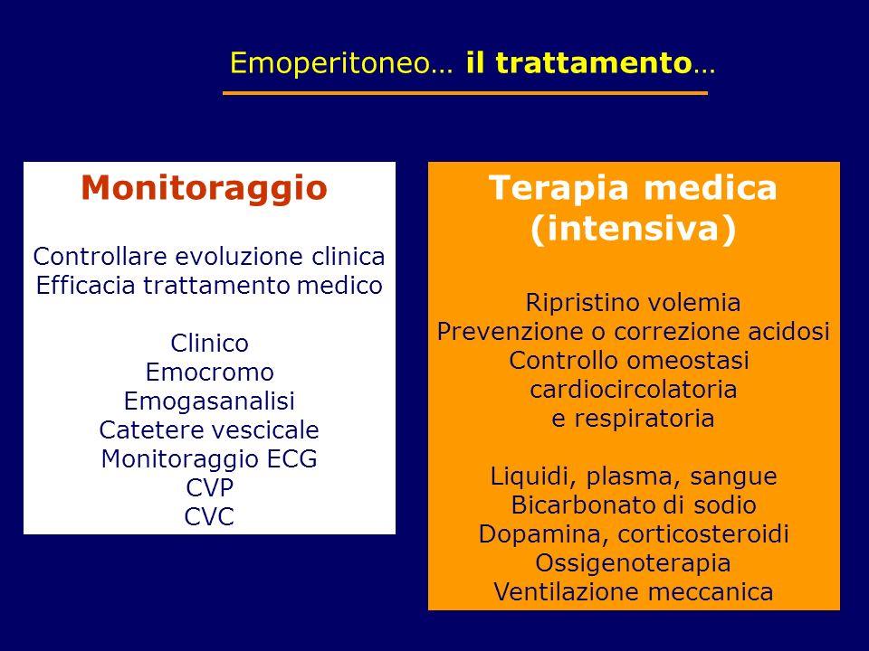 Emoperitoneo… il trattamento… Monitoraggio Controllare evoluzione clinica Efficacia trattamento medico Clinico Emocromo Emogasanalisi Catetere vescica