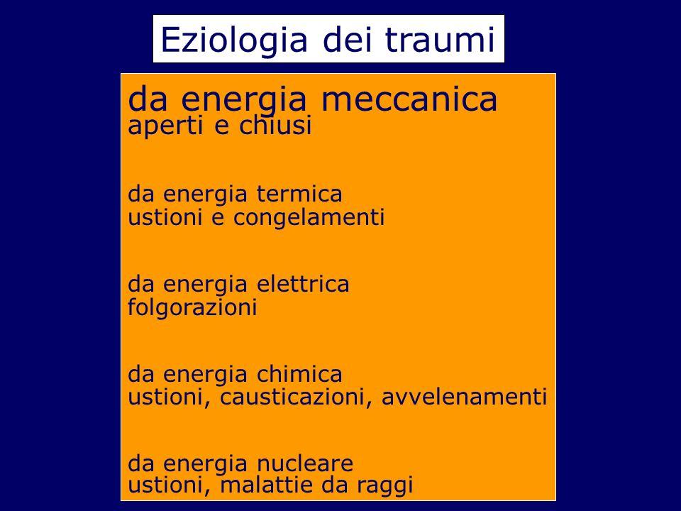Eziologia dei traumi da energia meccanica aperti e chiusi da energia termica ustioni e congelamenti da energia elettrica folgorazioni da energia chimi