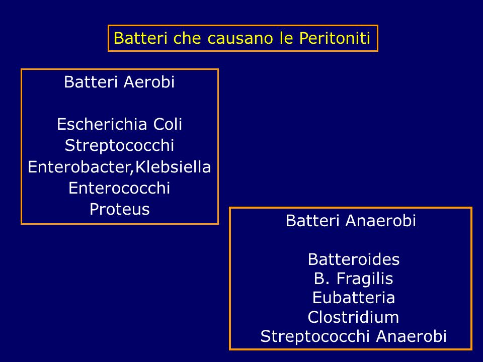 Batteri che causano le Peritoniti Batteri Aerobi Escherichia Coli Streptococchi Enterobacter,Klebsiella Enterococchi Proteus Batteri Anaerobi Batteroi