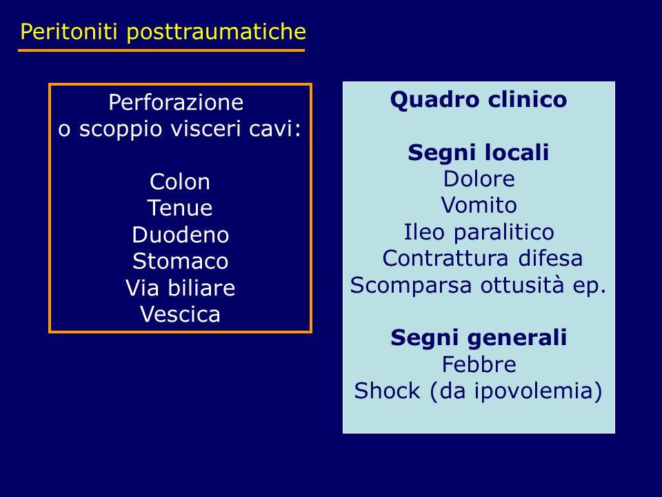 Peritoniti posttraumatiche Perforazione o scoppio visceri cavi: Colon Tenue Duodeno Stomaco Via biliare Vescica Quadro clinico Segni locali Dolore Vom