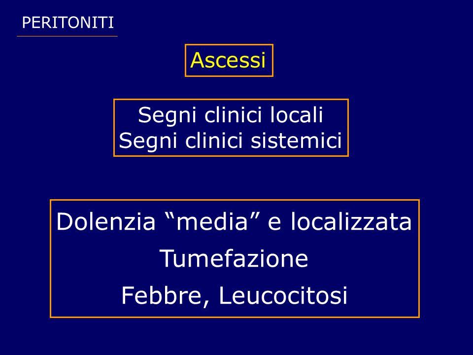 PERITONITI Ascessi Segni clinici locali Segni clinici sistemici Dolenzia media e localizzata Tumefazione Febbre, Leucocitosi