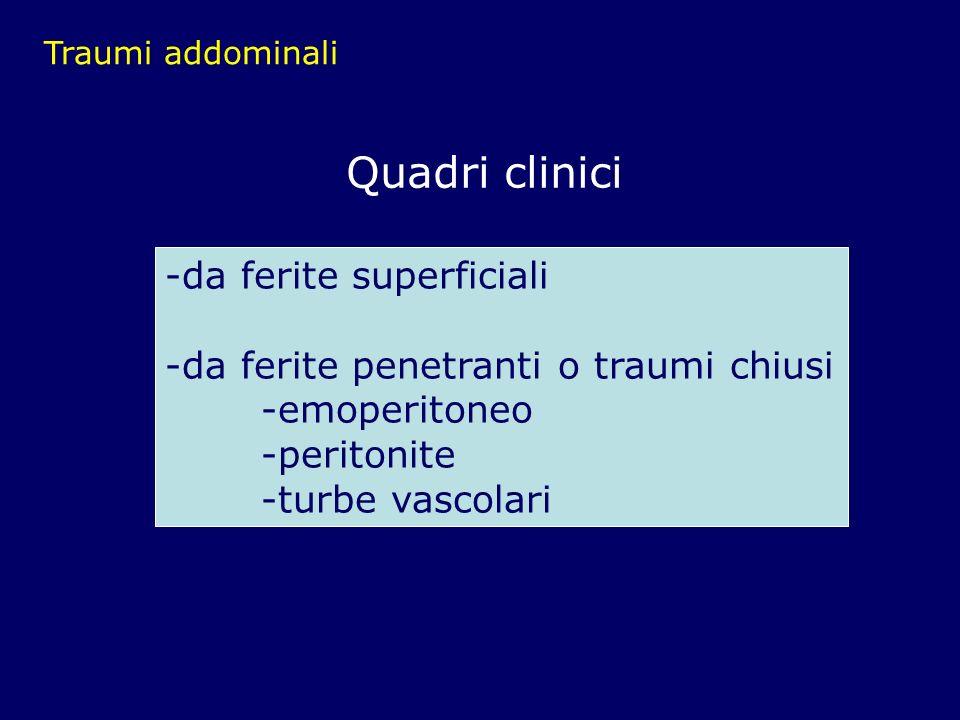 Traumi addominali Quadri clinici -da ferite superficiali -da ferite penetranti o traumi chiusi -emoperitoneo -peritonite -turbe vascolari