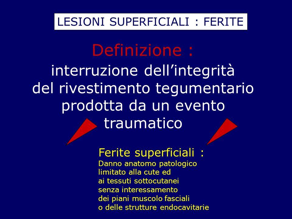 LESIONI SUPERFICIALI : FERITE Definizione : interruzione dellintegrità del rivestimento tegumentario prodotta da un evento traumatico Ferite superfici