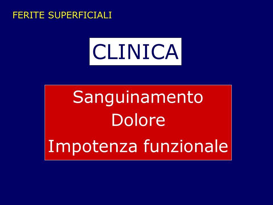 FERITE SUPERFICIALI CLINICA Sanguinamento Dolore Impotenza funzionale