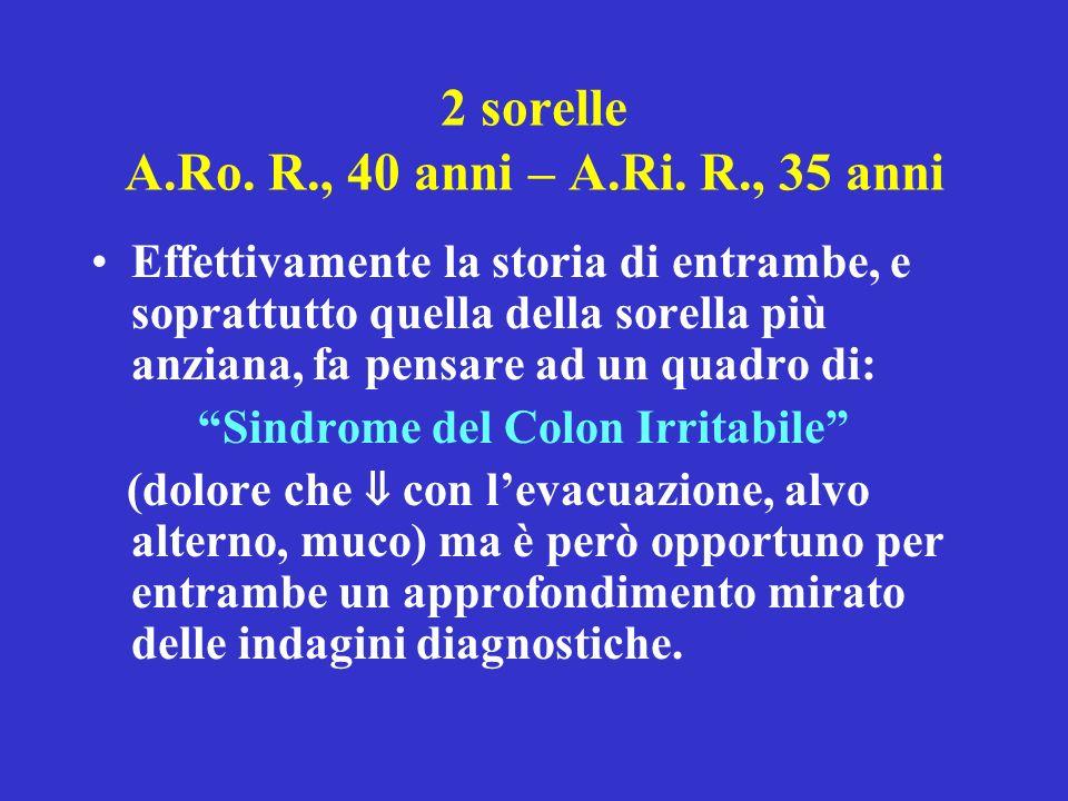 2 sorelle A.Ro. R., 40 anni – A.Ri. R., 35 anni Effettivamente la storia di entrambe, e soprattutto quella della sorella più anziana, fa pensare ad un