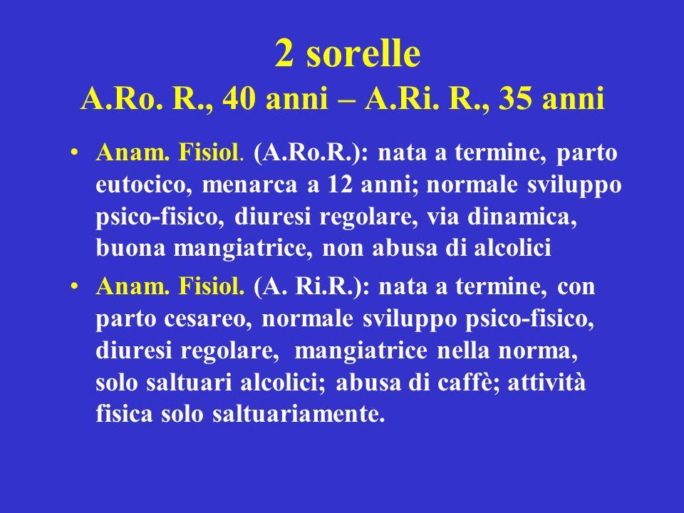 2 sorelle A.Ro. R., 40 anni – A.Ri. R., 35 anni Anam. Fisiol. (A.Ro.R.): nata a termine, parto eutocico, menarca a 12 anni; normale sviluppo psico-fis