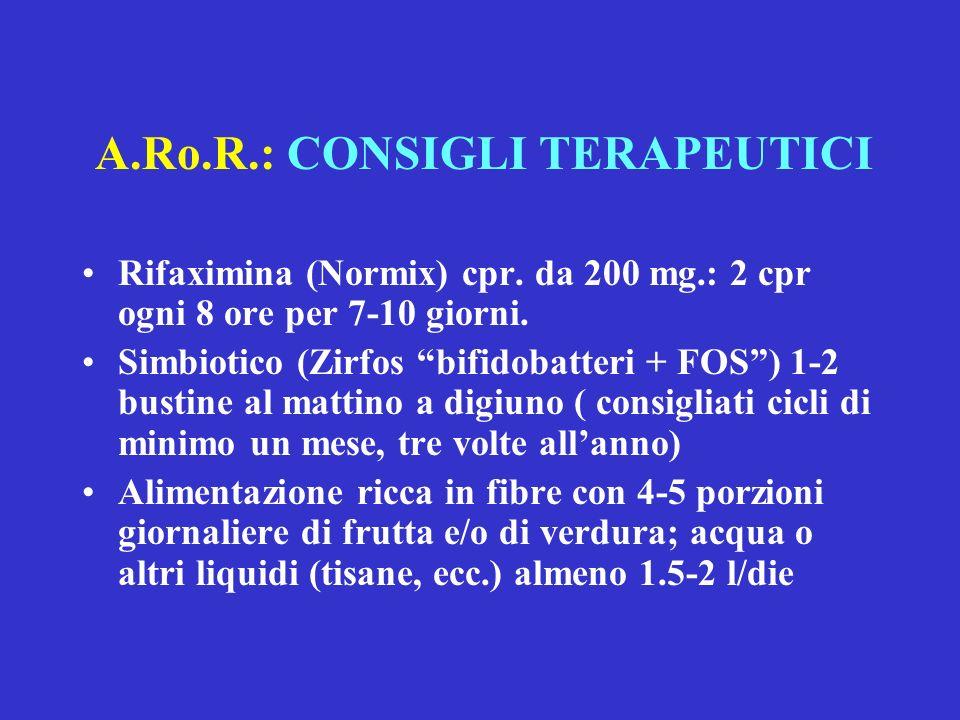 A.Ro.R.: CONSIGLI TERAPEUTICI Rifaximina (Normix) cpr. da 200 mg.: 2 cpr ogni 8 ore per 7-10 giorni. Simbiotico (Zirfos bifidobatteri + FOS) 1-2 busti