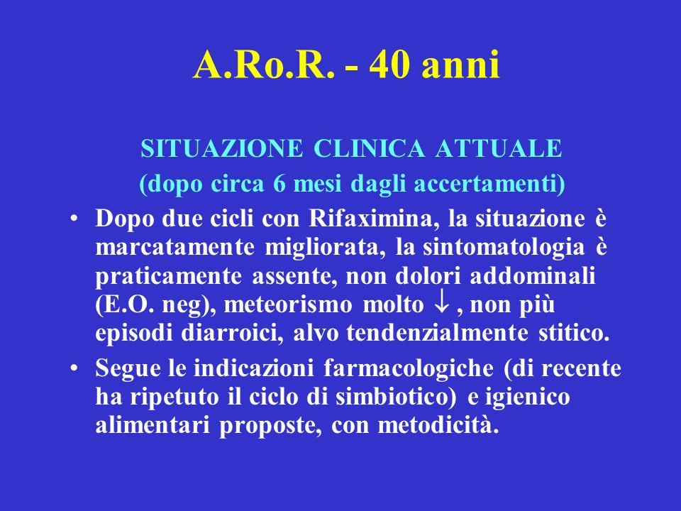 A.Ro.R. - 40 anni SITUAZIONE CLINICA ATTUALE (dopo circa 6 mesi dagli accertamenti) Dopo due cicli con Rifaximina, la situazione è marcatamente miglio