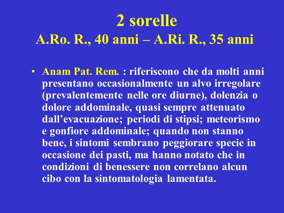 2 sorelle A.Ro. R., 40 anni – A.Ri. R., 35 anni Anam Pat. Rem. : riferiscono che da molti anni presentano occasionalmente un alvo irregolare (prevalen