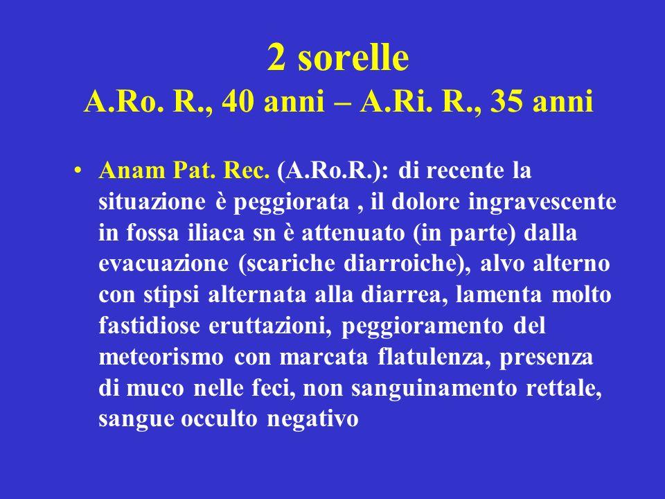 2 sorelle A.Ro. R., 40 anni – A.Ri. R., 35 anni Anam Pat. Rec. (A.Ro.R.): di recente la situazione è peggiorata, il dolore ingravescente in fossa ilia