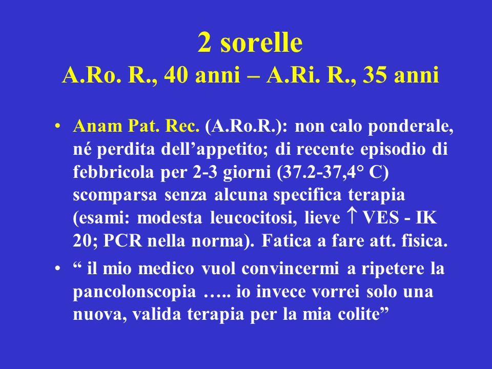 2 sorelle A.Ro. R., 40 anni – A.Ri. R., 35 anni Anam Pat. Rec. (A.Ro.R.): non calo ponderale, né perdita dellappetito; di recente episodio di febbrico