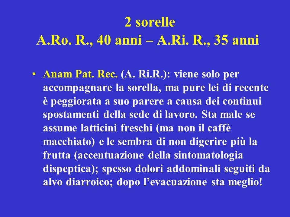 2 sorelle A.Ro. R., 40 anni – A.Ri. R., 35 anni Anam Pat. Rec. (A. Ri.R.): viene solo per accompagnare la sorella, ma pure lei di recente è peggiorata