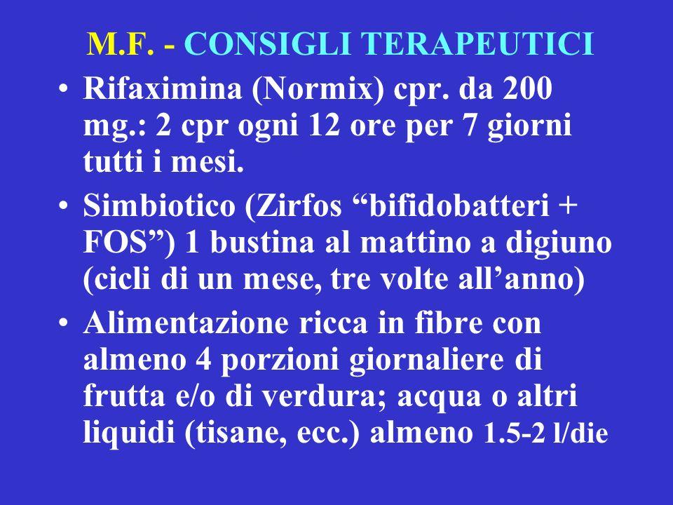 M.F.- CONSIGLI TERAPEUTICI Rifaximina (Normix) cpr.