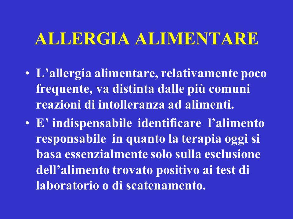 ALLERGIA ALIMENTARE Lallergia alimentare, relativamente poco frequente, va distinta dalle più comuni reazioni di intolleranza ad alimenti.