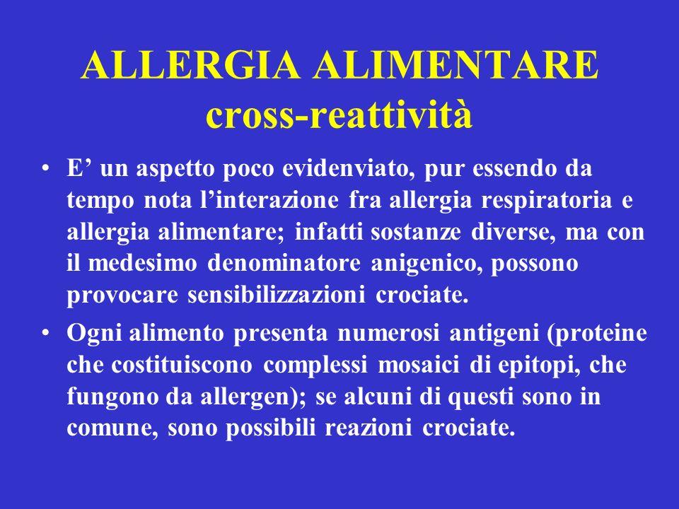 ALLERGIA ALIMENTARE cross-reattività E un aspetto poco evidenviato, pur essendo da tempo nota linterazione fra allergia respiratoria e allergia alimentare; infatti sostanze diverse, ma con il medesimo denominatore anigenico, possono provocare sensibilizzazioni crociate.