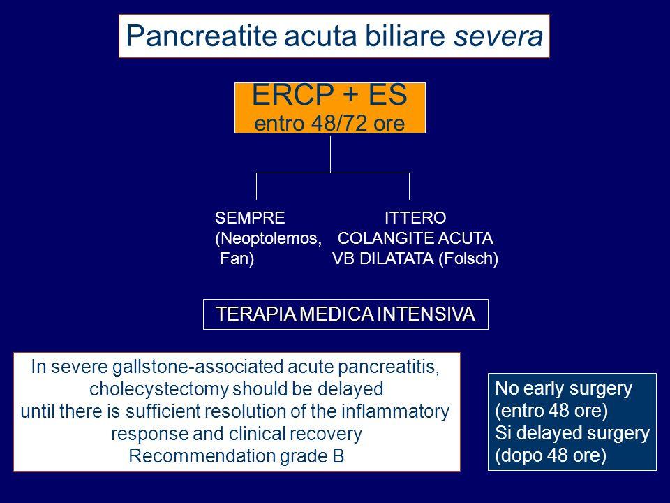 entro 48/72 ore TERAPIA MEDICA INTENSIVA Pancreatite acuta biliare severa SEMPRE (Neoptolemos, Fan) ITTERO COLANGITE ACUTA VB DILATATA (Folsch) In sev