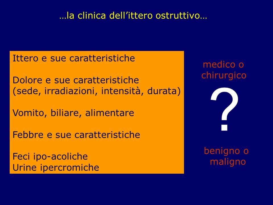 …la clinica dellittero ostruttivo… Ittero e sue caratteristiche Dolore e sue caratteristiche (sede, irradiazioni, intensità, durata) Vomito, biliare,